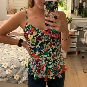 Buckle floral tank top